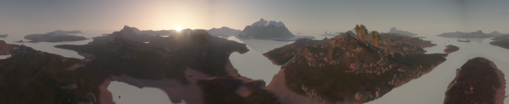 I built really high and took this panoramic shot last night. Fuck, this game is beautiful!!