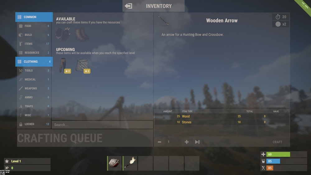 The new crafting menu. Default key to open is Q