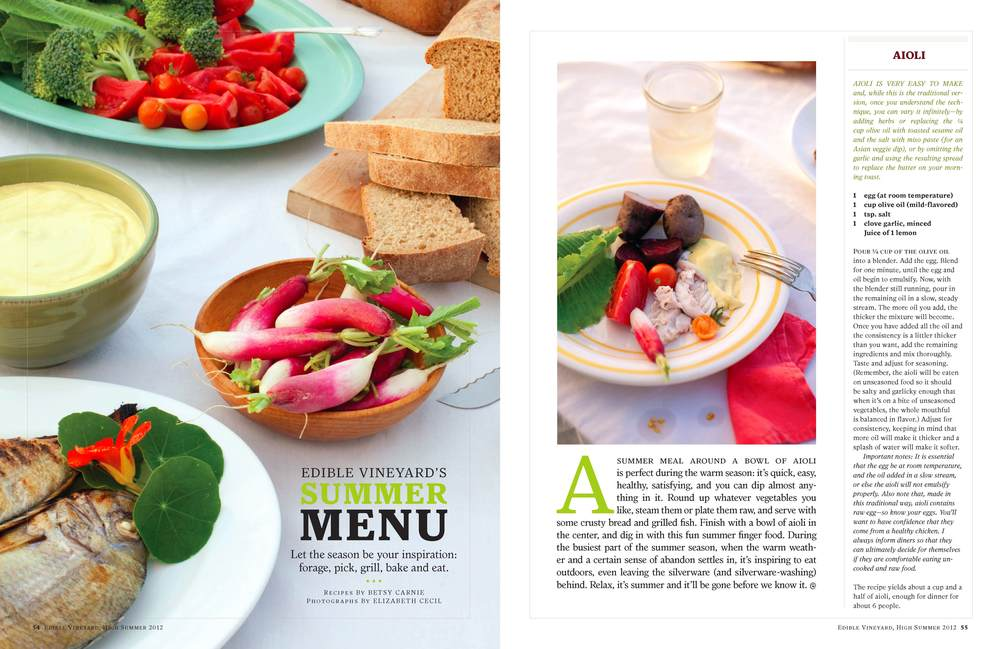 Summer menu feature opening spread