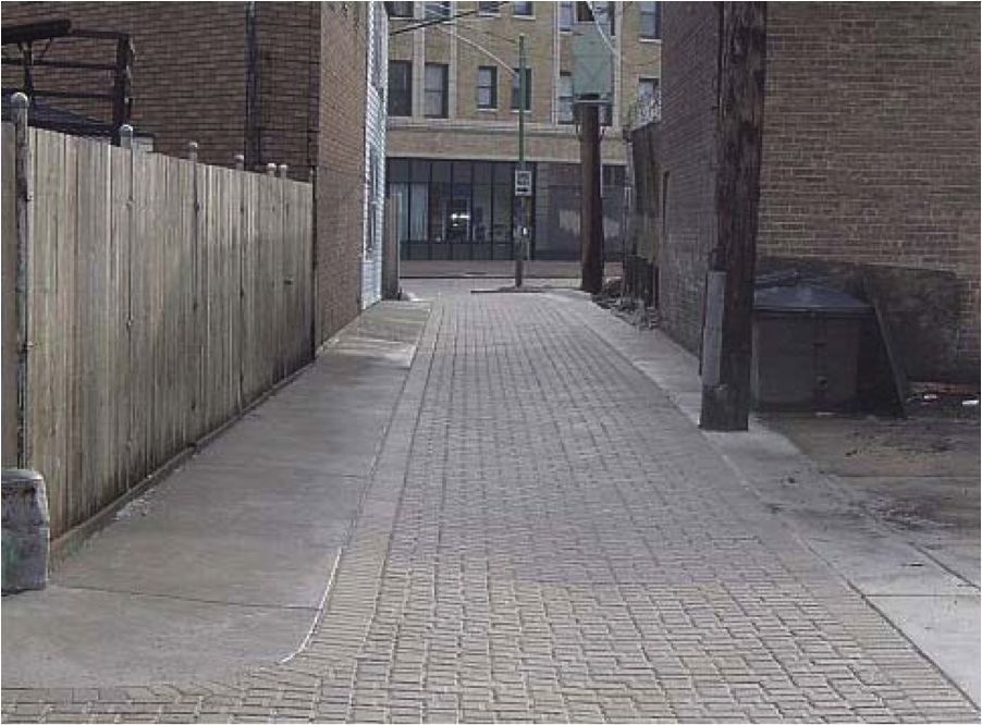 Laneway revitalized with permeable pavement.