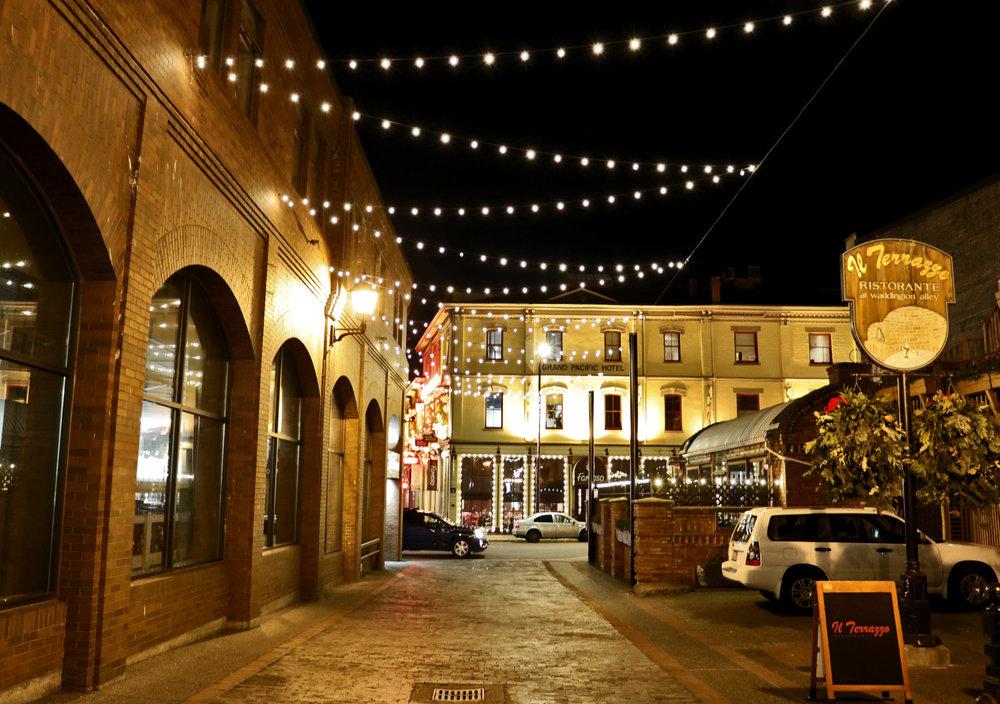 String lights and Italian food in Waddington Alley - Photo by Katrina Afonso