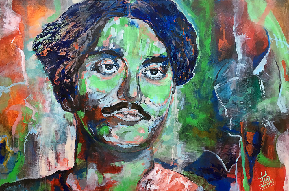 Title:  The revolutionary and poet Kazi Nazrul Islam, MMXIV   Media:  Acrylic on Wood Panel   Size:  Width: 30 in x Height: 24 in x Depth: 1.75 in (gallery frame) Width: 76 cm x Height: 61 cm x Depth: 4.5 cm (gallery frame)