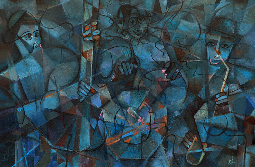 Title:  Blue Rondo, MMXV   Media:  Mixed Media and Resin on Wood Panel   Size:  Width: 36 in x Height: 24 in x Depth: 2 in Width: 91.5 cm x Height: 61 cm x Depth: 5 cm