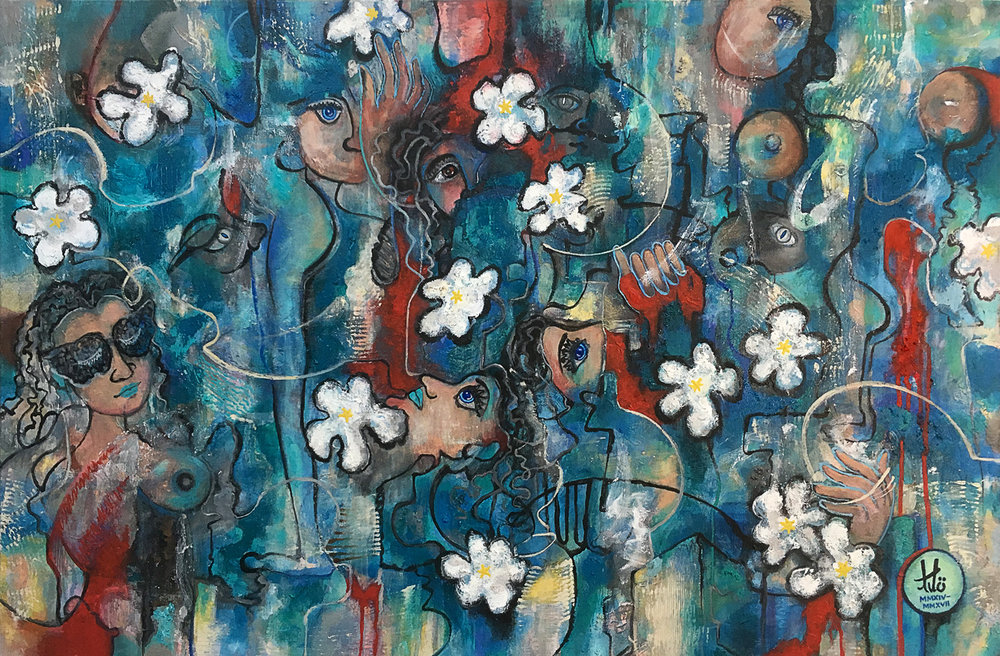Title:  Cherry Blossom, MMXV   Media:  Acrylic paint on canvas   Size:  Width: 36 in x Height: 24 in x Depth: 1.5 in Width: 91.5 cm x Height: 61 cm x Depth: 3.8 cm