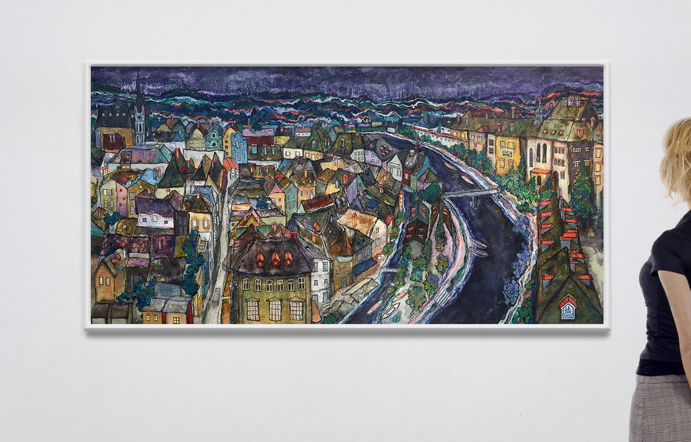 Title:    Bohemian Krumlov, Czech Republic, MMXVI - MMXVII     Media:    Acrylic on Linen Canvas     Size:    Width: 60 in  x  Height: 30 in  x  Depth: 1.5 in (gallery frame) Width: 152.5 cm  x  Height: 76 cm  x  Depth: 4 cm (gallery frame)