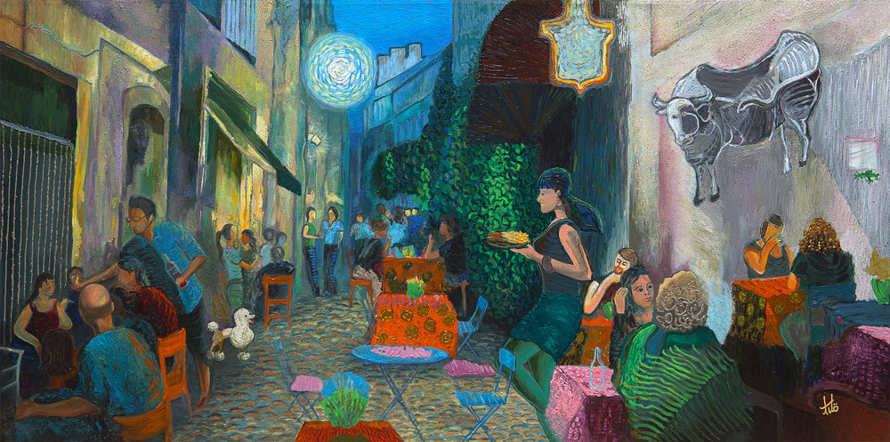 Title:  The Alley beside Van Gogh Café, Arles. MMXIV - MMXV   Media:  Acrylic on Canvas   Size:  Width: 48 in  x  Height: 24 in  x  Depth: 1.75 in (gallery frame) Width: 122 cm  x  Height: 122 cm  x  Depth: 4.5 cm (gallery frame)