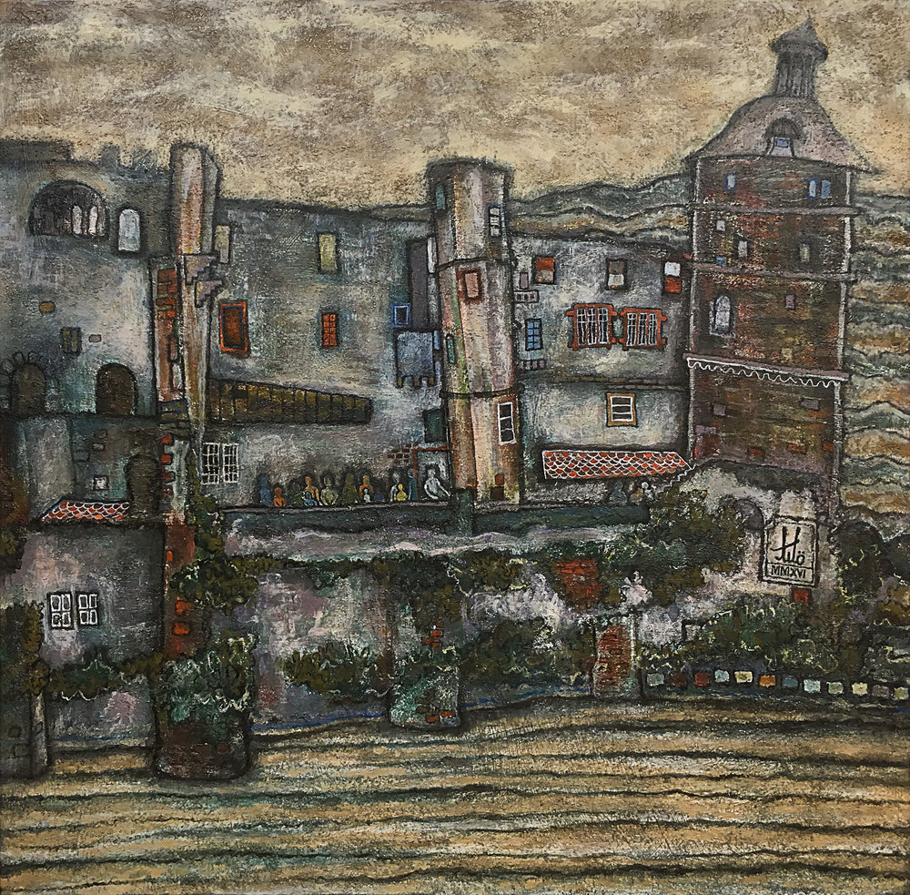 Title:  Palace of kings, Heidelberg Castle. MMXVI   Media:  Acrylic on Canvas   Size:  Width: 30 in  x  Height: 30 in  x  Depth: 1 in Width: 76 cm  x  Height: 76 cm  x  Depth: 2.5 cm