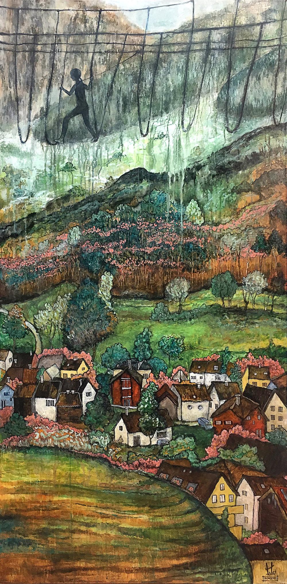 Title:  Vaduz, Liechtenstein. MMXVII   Media:  Acrylic, Ink, Pencil and Graphite on Linen.   Size:  Width: 36 in x Height: 64 in x Depth: 3 in (gallery frame) Width: 91.44 cm x Height: 162.56 cm x Depth: 7 cm (gallery frame)