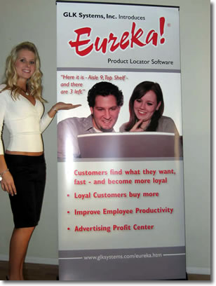 """Pop-Up"" signs can be used at shows, events, and in-store"