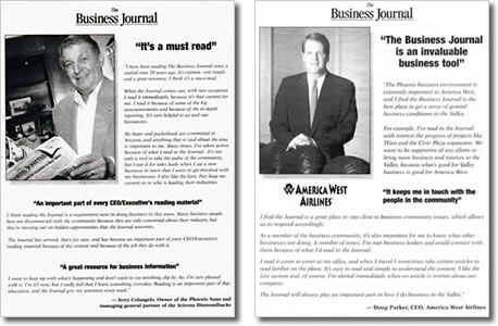 In-publication campaign developed for Phoenix Business Journal