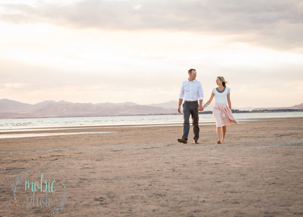 Couple walking on the beach- Utah Lake