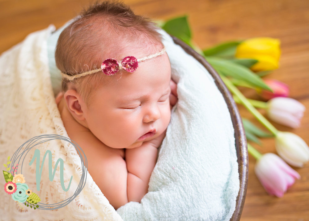 Utah Newborn Photographer - Baby girl pose with tulips