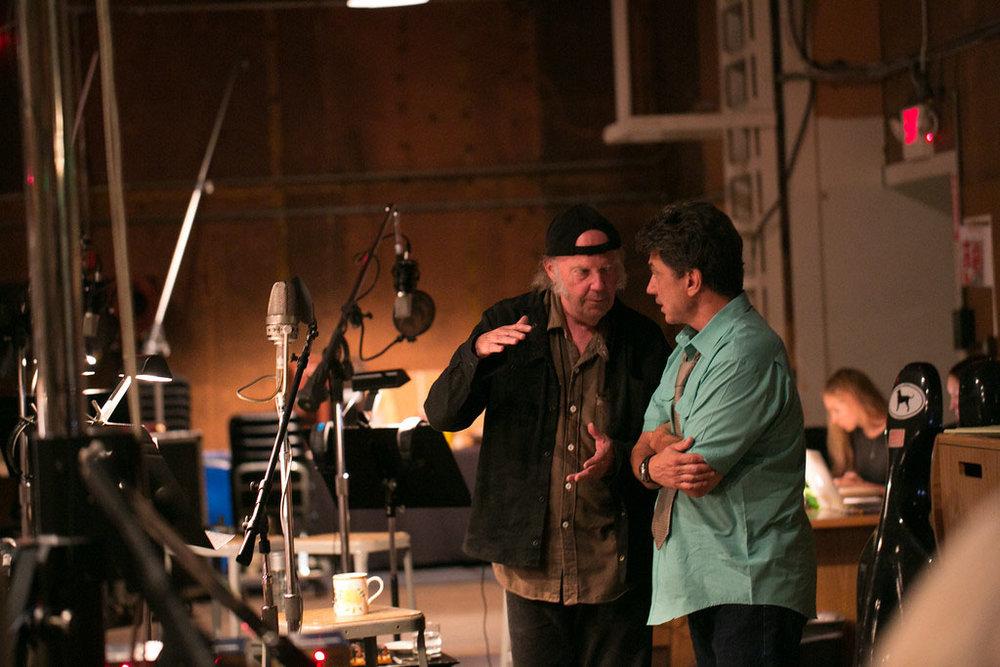Neil and Niko recording Storytone. Photo by Chris Schmitt