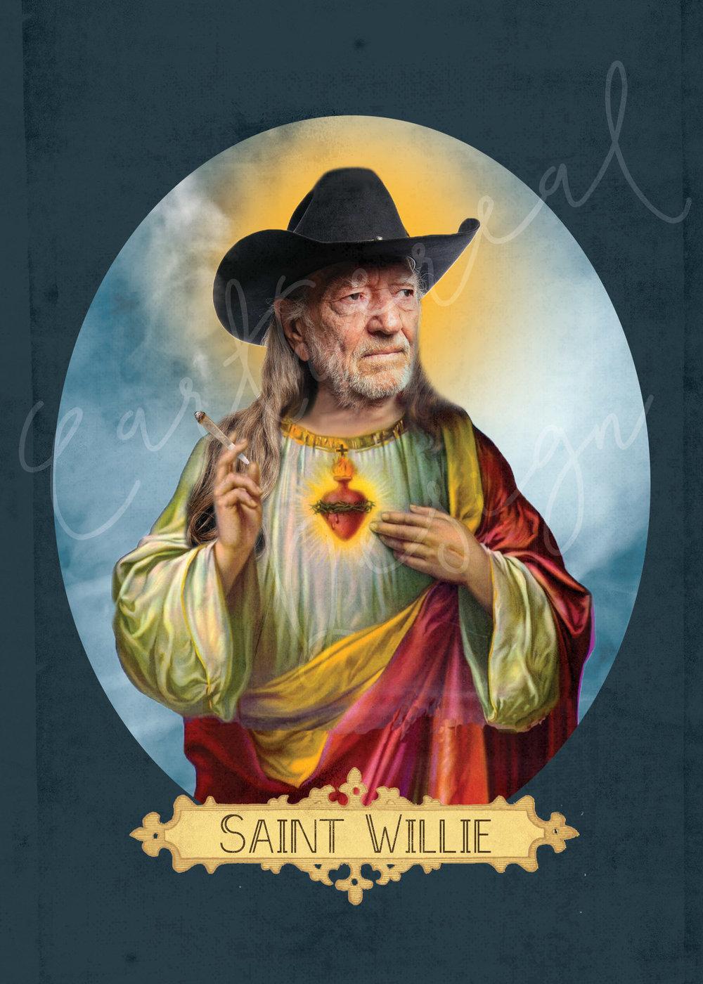 9039854f Saint Willie Nelson // 5x7 Print — e a r t h e r e a l • d e s i g n