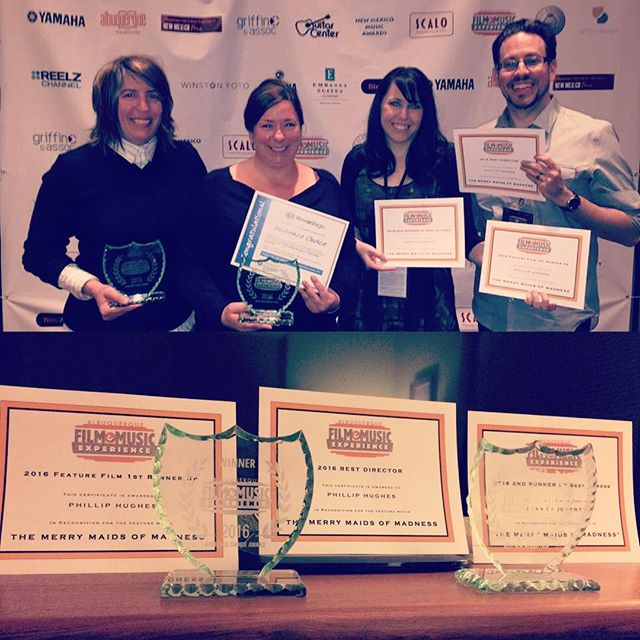 The Merry Maids of Madness wins big at @abqfilmx Audience Award, Best New Mexico Film, Best Director Phillip Hughes, 1st Runner Up Best Film, 2nd Runner Up Best Actress. Thank you to the festival and to our entire cast and crew. #shakespeare #awards #audienceaward #nmfilm #nmtrue #gomaids