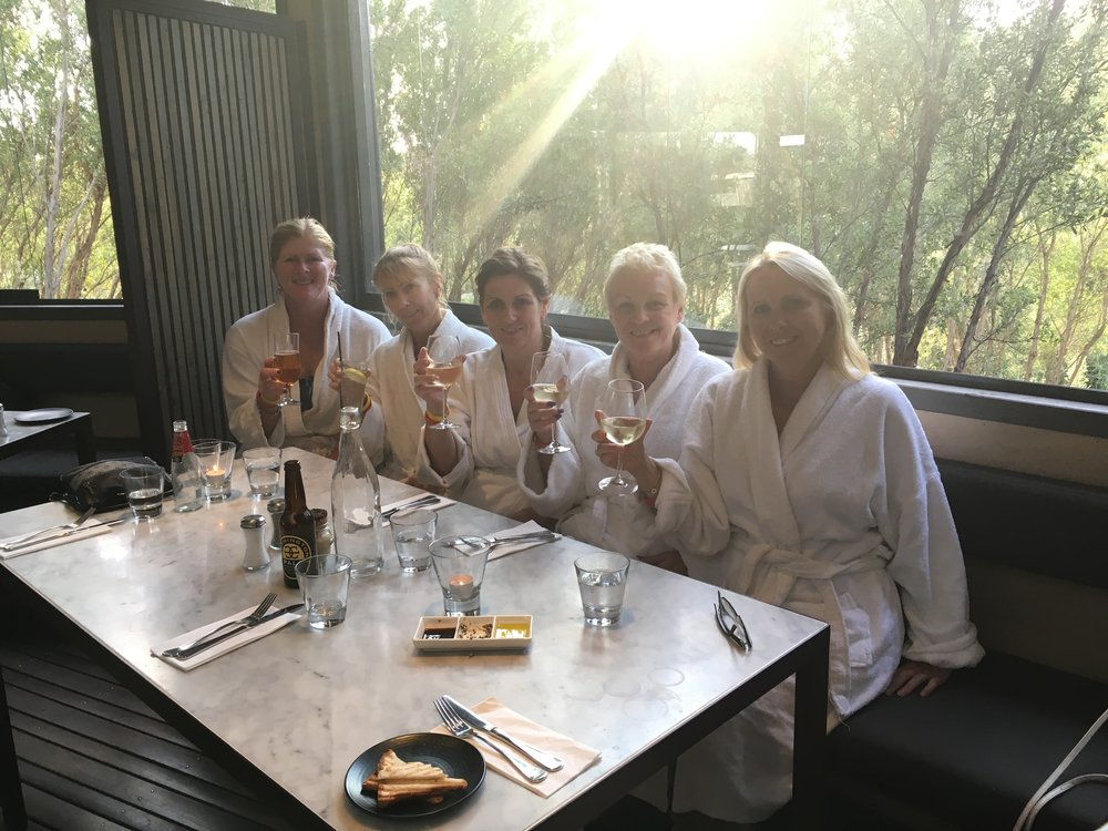 Dinner in robes at Hot Springs