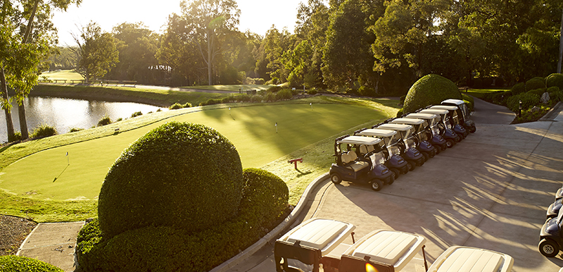 Cypress Lakes Resort Golf Carts Sunset.jpg