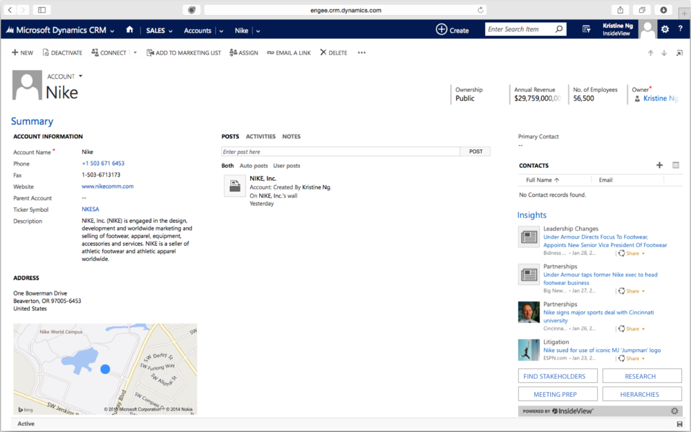 The mashup view of Insights within a MSFT Dynamics CRM account page.