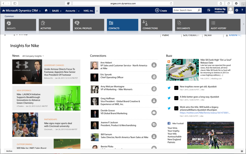 The full page view of Insights provides the user with a more engaging experience.