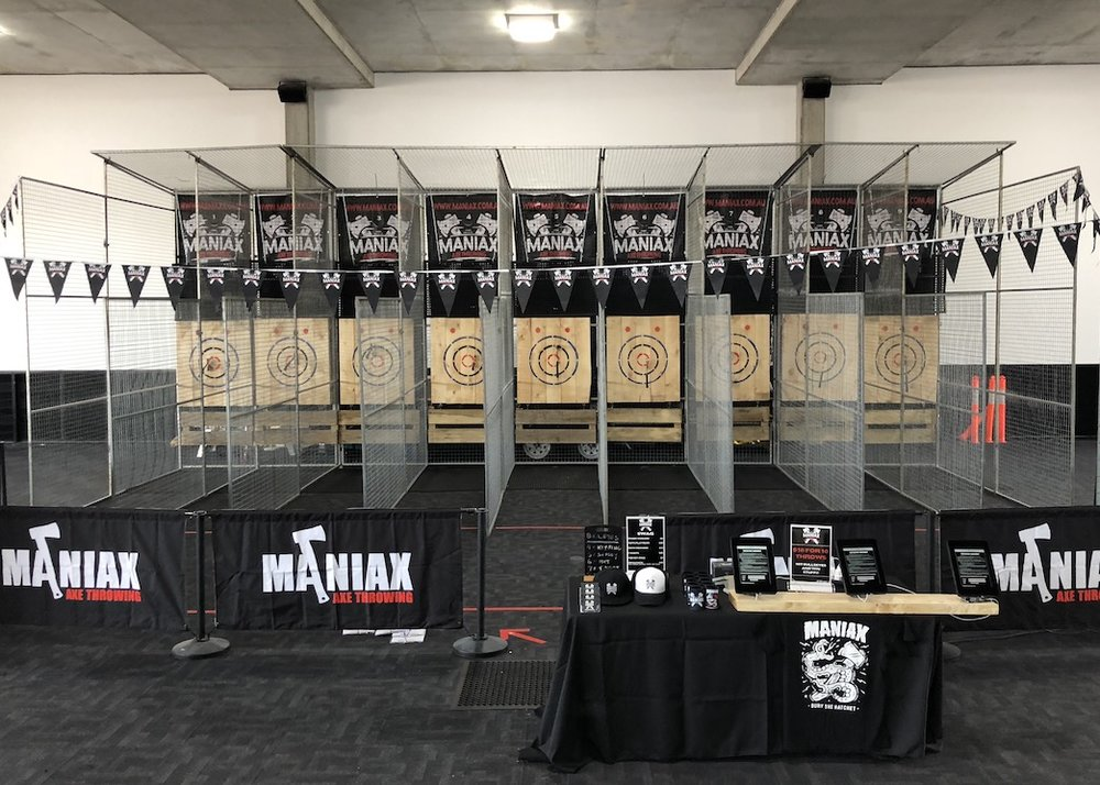 MOBILE MANIAX - WE BRING THE AXE-TION TO YOU!WE HAVE AN AWESOME MOBILE AXE THROWING PLATFORM TO AMP UP YOUR NEXT EVENT.AVAILABLE ANYWHERE EAST COAST AUSTRALIA.PERFECT FOR ANY EVENT FROM 10 TO 200 PEOPLE. WEDDINGS, BIRTHDAYS, CORPORATE EVENTS - WE CAN DO IT ALL!FESTIVALS - ORGANISING A FESTIVAL? WE CAN CATER FOR FESTIVALS FROM 4000-20,000 ATTENDEES. GET IN TOUCH!