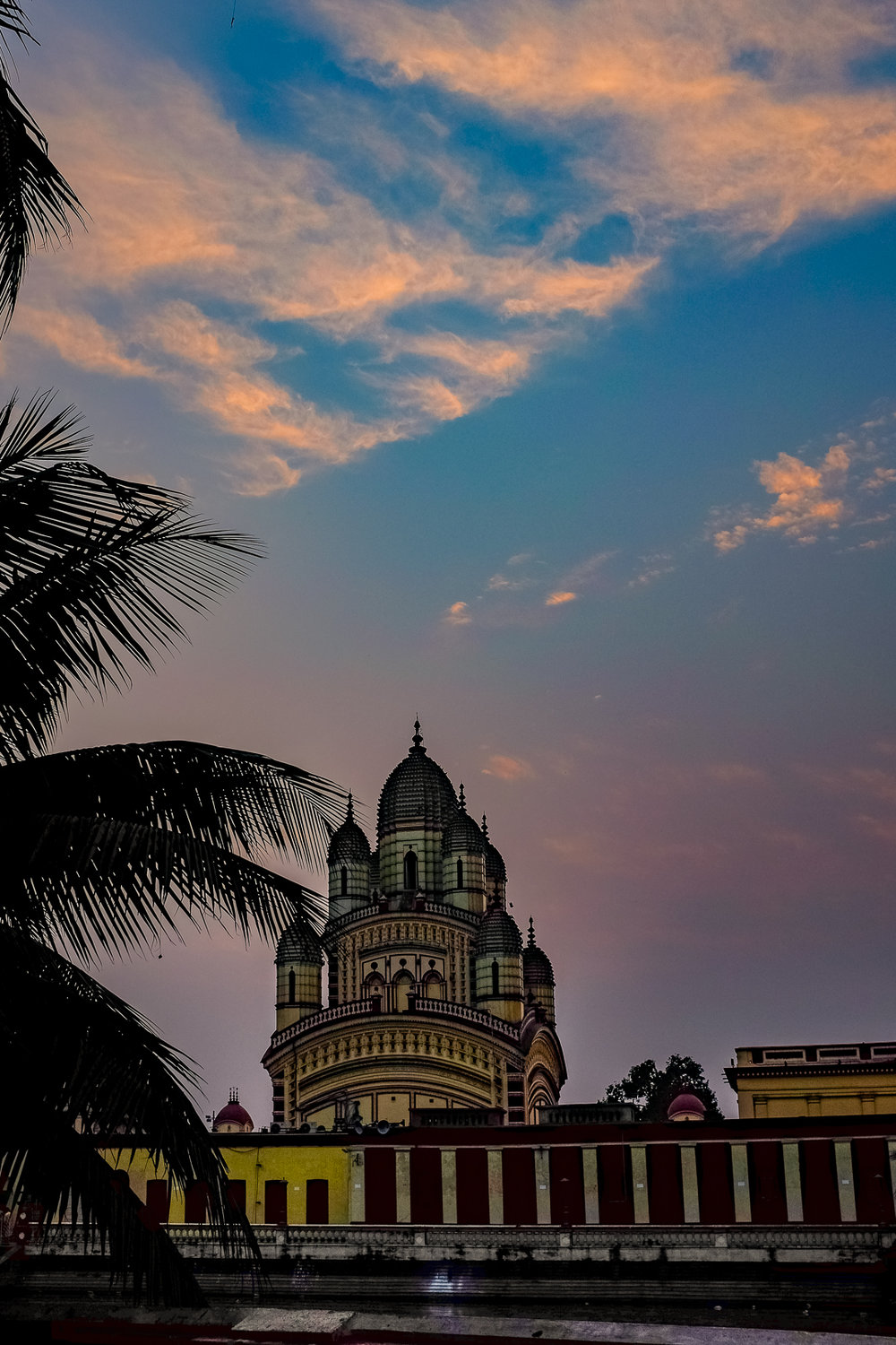 Dakshineshwar, the city most important temple, at sunset.