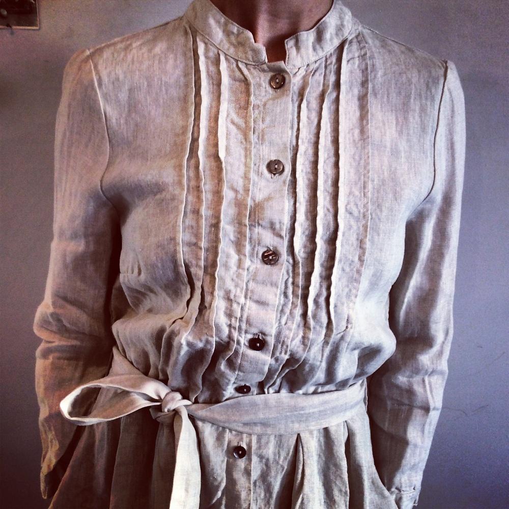 Victoria Linen Pintuck Dress $295