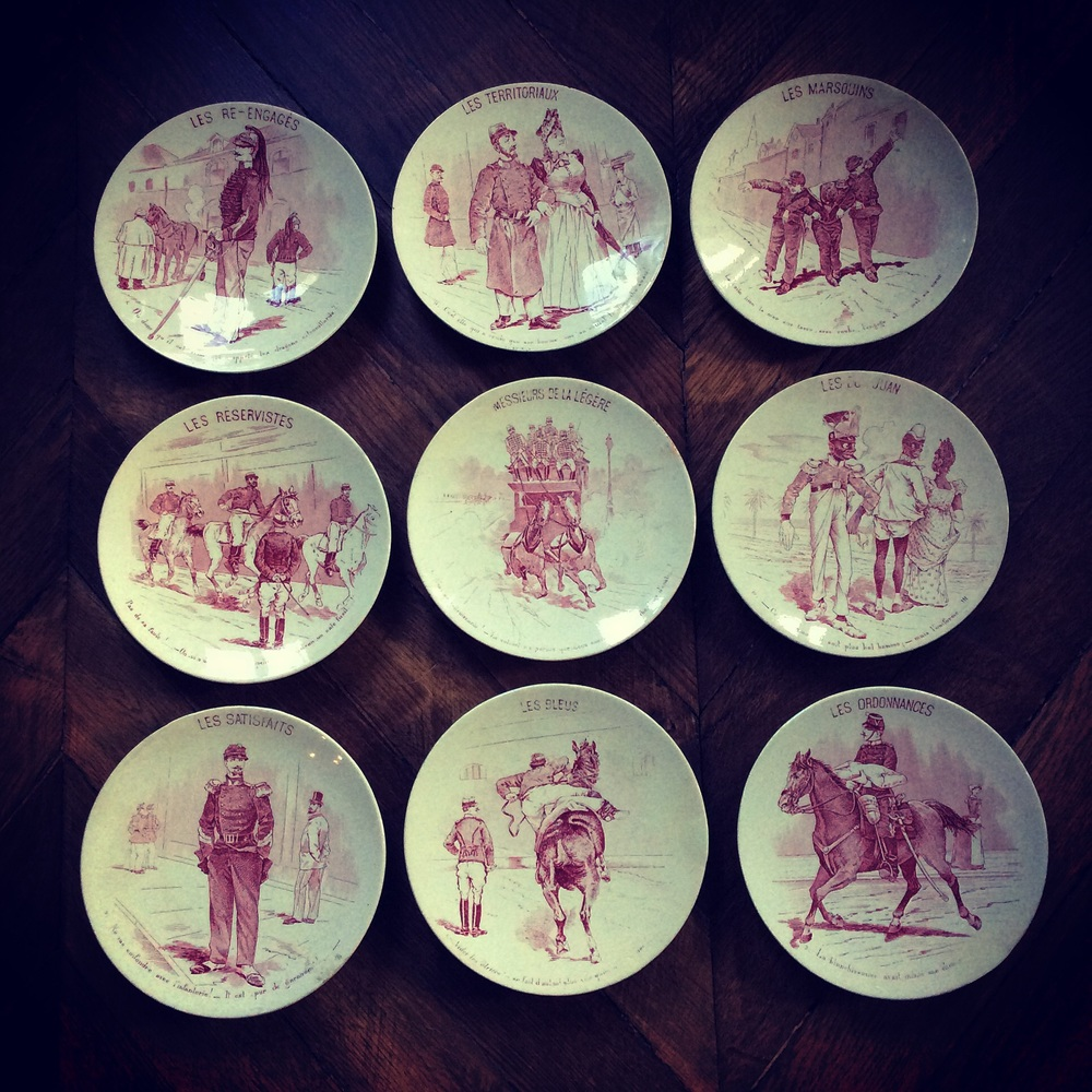 I love this military themed Sarreguemines set of 9 wall plates, arriving late November.