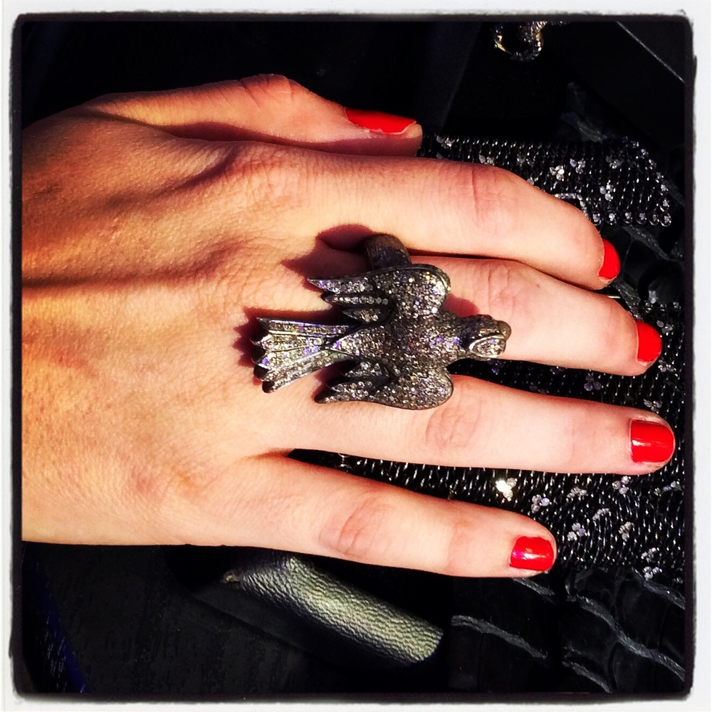 French jewels anyone! This show stopping black diamond pave bird ring is coming soon.......