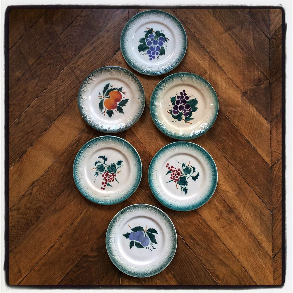 The prettiest collection of Sarreguemines 1890's plates.