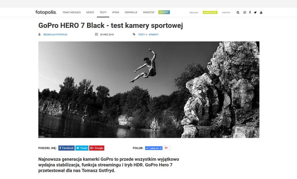 My GoPro7 test for Fotopolis    https://www.fotopolis.pl/testy/aparaty/31105-gopro-hero-7-black-test-kamery-sportowej