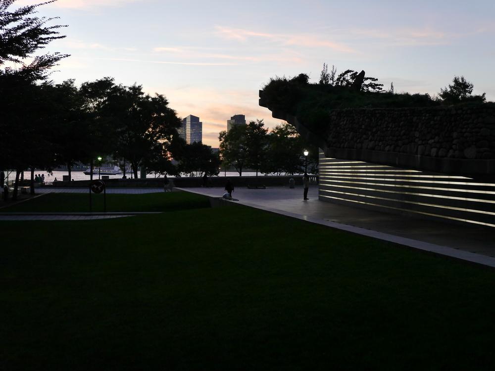 The Irish Hunger Memorial at night.