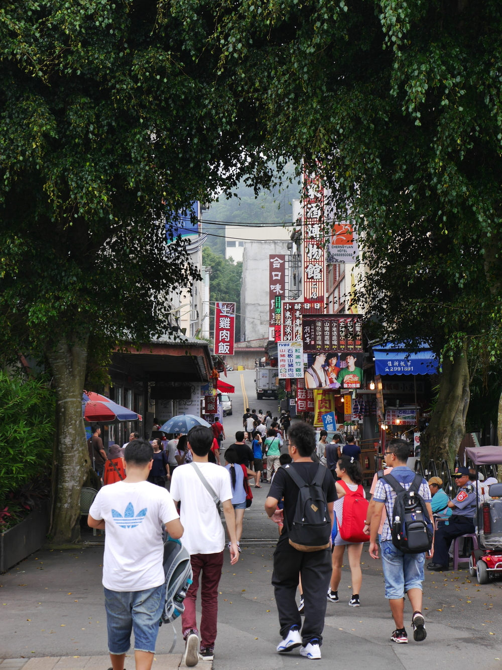 Looking up one of the streets. Lots of vendors catering to tourists.
