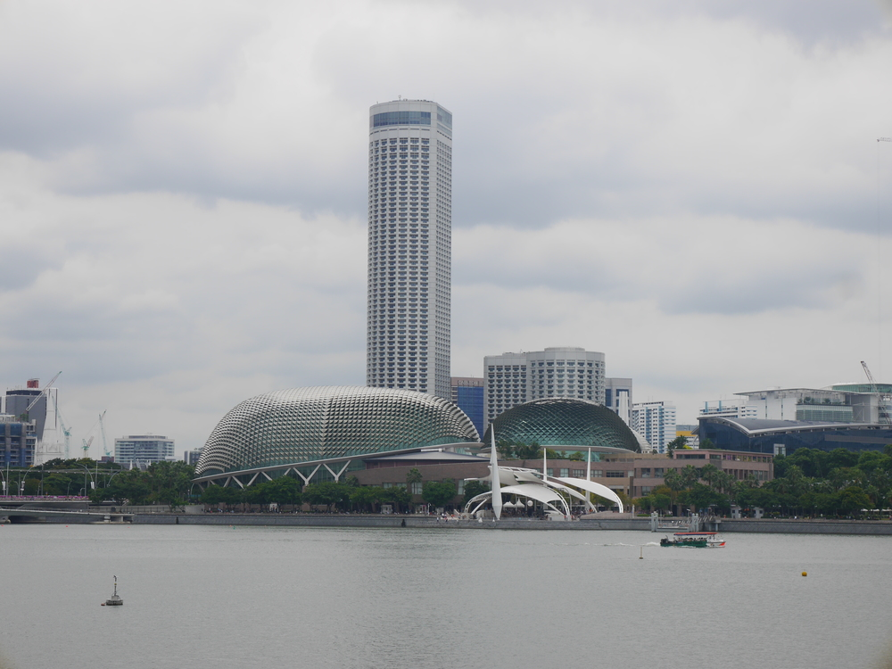 Yet more of the Singapore skyline, including the Theaters on the Bay in the foreground, whose design was inspired by durian fruit.