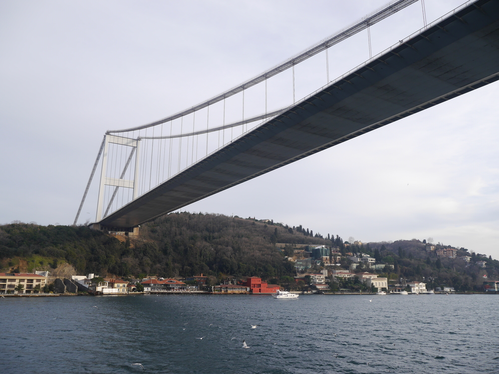 The underside of the Faith Sultan Mehmet Bridge is surprisingly smooth. Maybe that's a strange thing to notice. Are all suspension bridges like that?