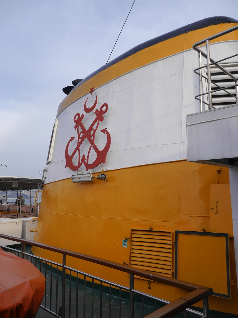 The  ferry company 's (rather handsome) insignia.