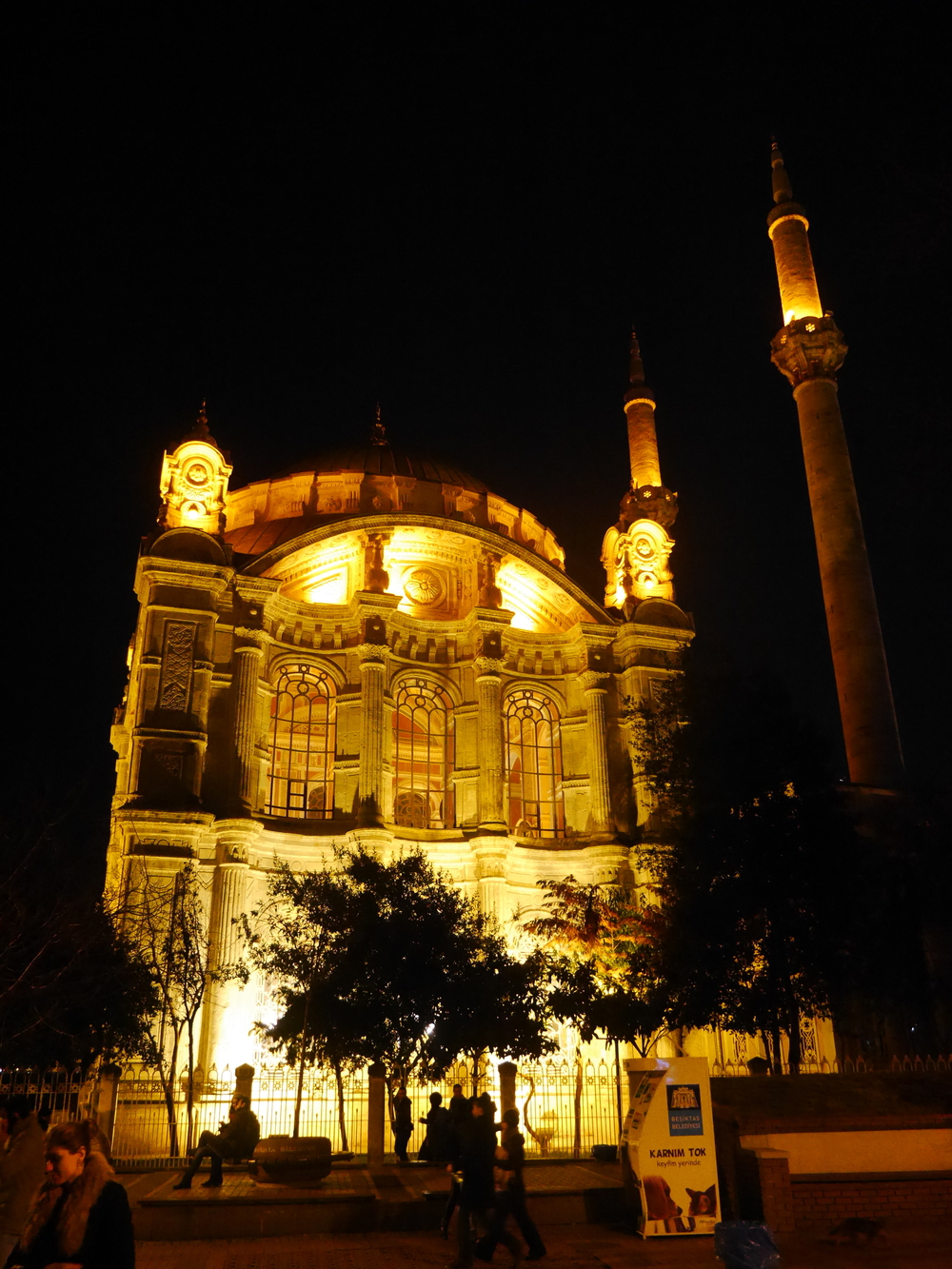 The Ortakoy Mosque at night.