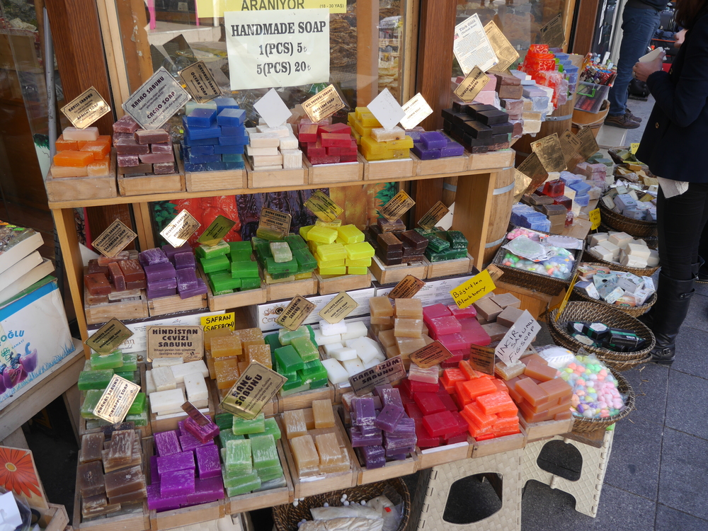 Soaps of many colors.