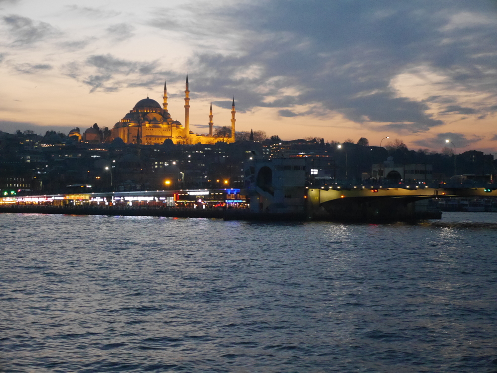 Suleymaniye Mosque at night.