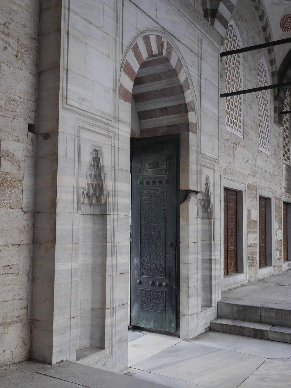 A doorway in the courtyard.