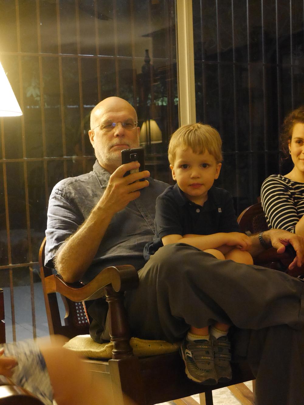Sebastian looking angelic. Dad looking distracted.