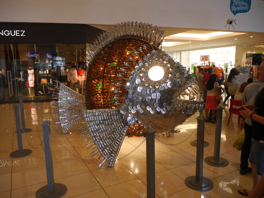 A giant fish made from cookware. Seemed a bit too uniform to actually have been recycled, though...