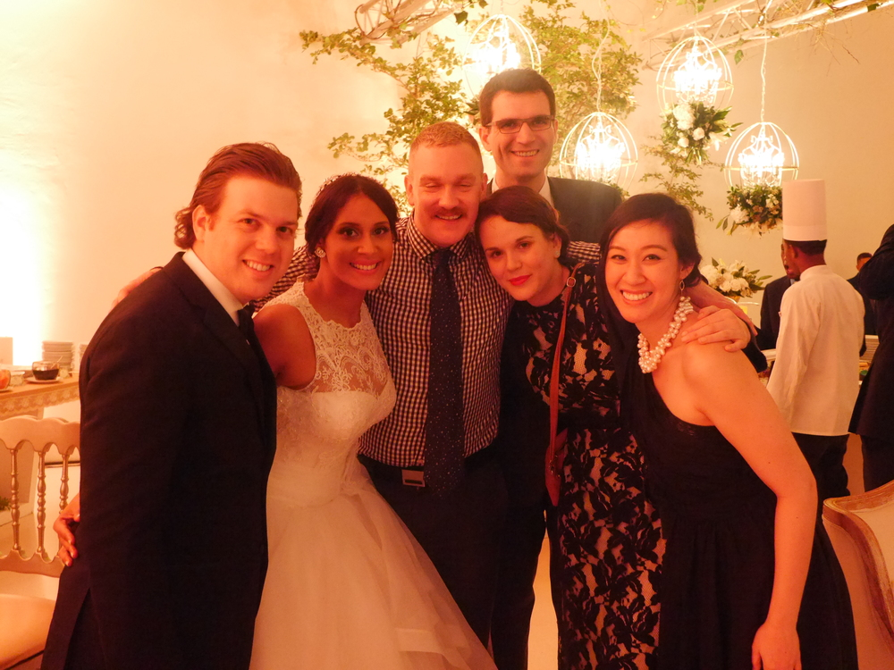 The groom (my cousin Alfonso), the bride (Martha), Simon, myself, Maurine, and Grace.