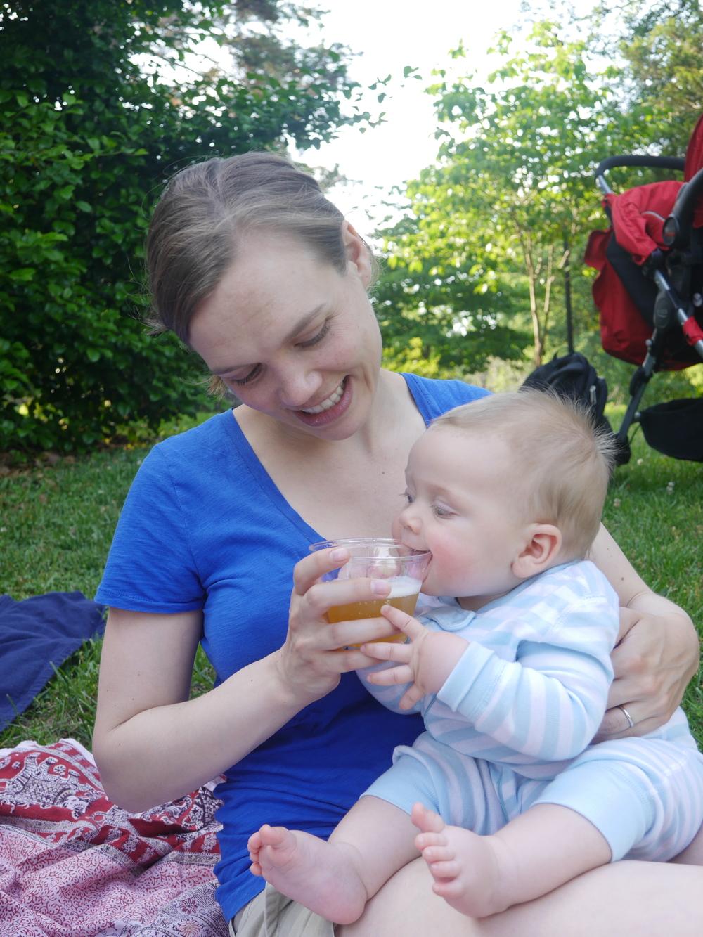 Gabriel finds beer fascinating.