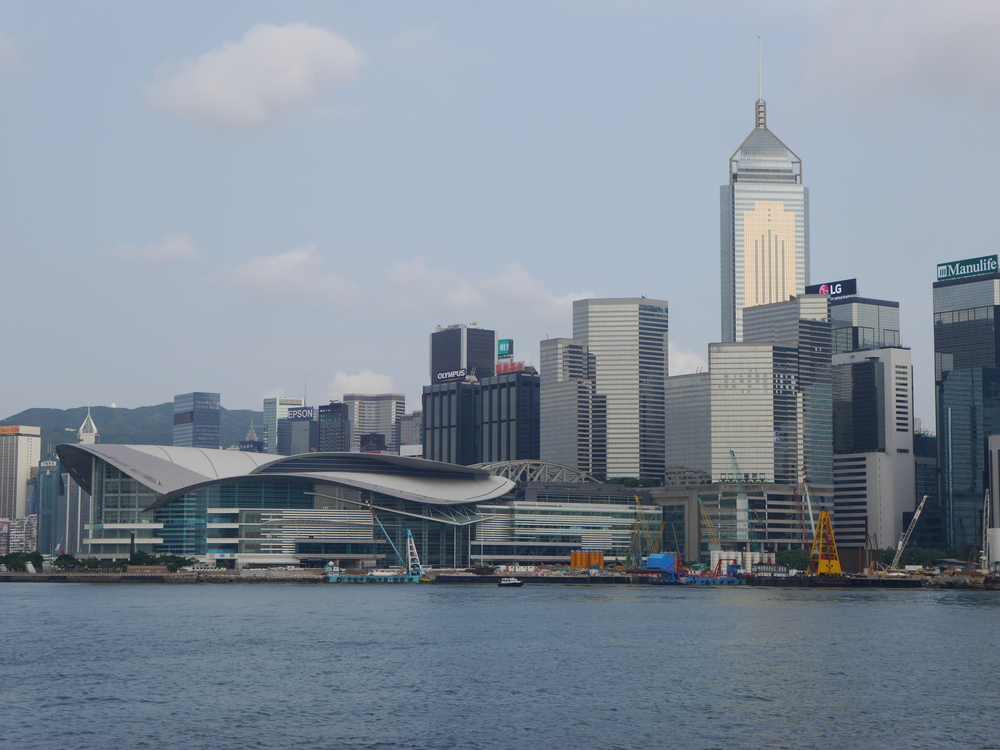 More of the waterfront, featuring the  Hong Kong Convention and Exhibition Centre  on the left.