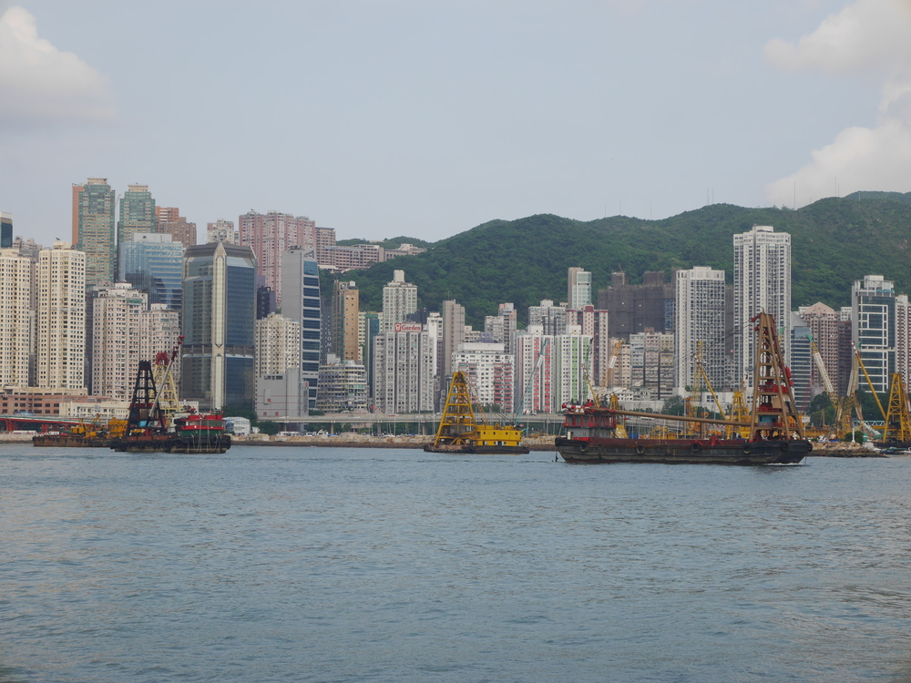 "A ton of Hong Kong is built on ""reclaimed"" land. I think they're expanding the city here."