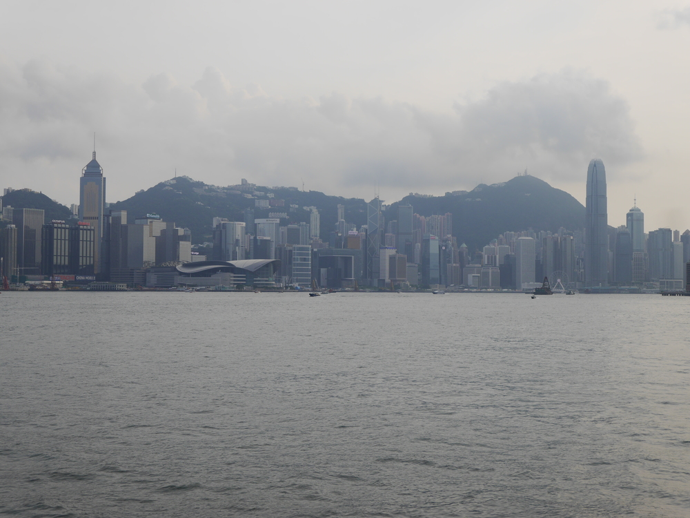 A wider view of the Hong Kong Island waterfront.