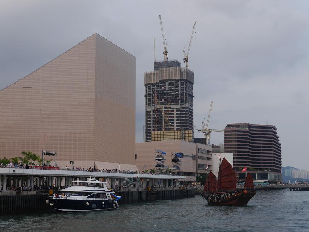 Hong Kong Cultural Centre  and junk.