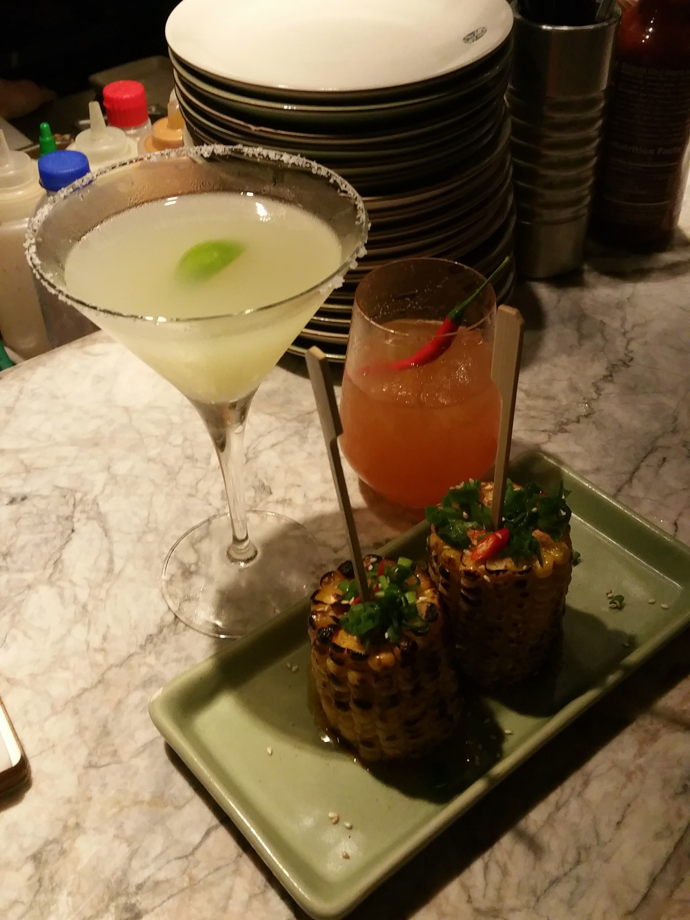 I got the Kaffir Lime Margarita, Grace got the Srirachelada, and we split the corn. Yum.
