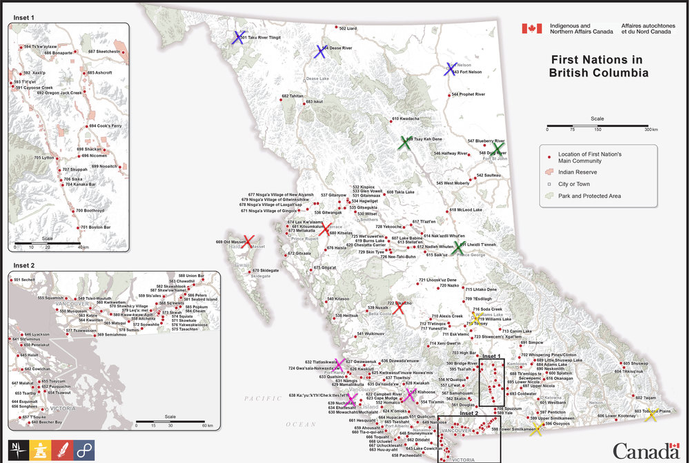 Map of the First Nations communities in BC