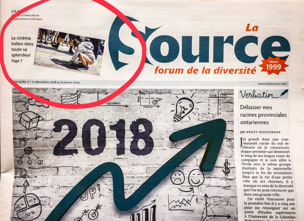 "V6A's frame on the cover page of local newspaper ""La Source"""